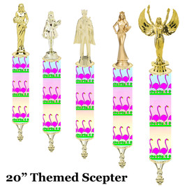"Flamingo theme Scepter!  20"" tall with choice of figure.   (003"