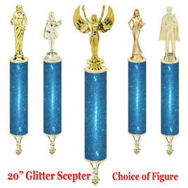 "Glitter Scepter!  20"" tall with choice of figure.   Aqua Glitter"