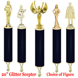 "Glitter Scepter!  20"" tall with choice of figure.   Black Glitter"