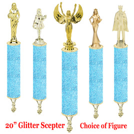 "Glitter Scepter!  20"" tall with choice of figure.   Light Blue  Glitter"