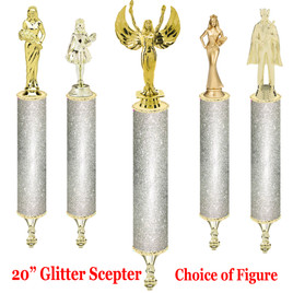 "Glitter Scepter!  20"" tall with choice of figure.  Silver  Glitter"