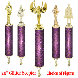 "Glitter Scepter!  20"" tall with choice of figure.  Wine  Glitter"