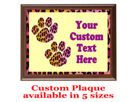Custom Full Color Plaque.  Brown plaque with full color plate.  5 Plaques sizes available - Animal Print 1