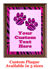 Custom Full Color Plaque.  Brown plaque with full color plate.  5 Plaques sizes available - Animal Print 2
