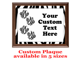 Custom Full Color Plaque.  Brown plaque with full color plate.  5 Plaques sizes available - Animal Print 3