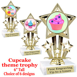 "Cupcake themed trophy.  6"" tall with choice of cupcake artwork.  Includes free engraved trophy plate   (767"