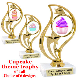 "Cupcake themed trophy.  6"" tall with choice of cupcake artwork.  Includes free engraved trophy plate   (90126"