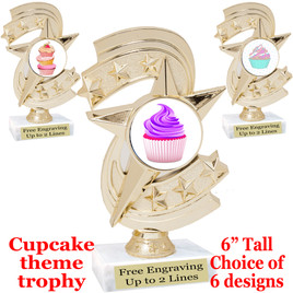 "Cupcake themed trophy.  6"" tall with choice of cupcake artwork.  Includes free engraved trophy plate   (h300"