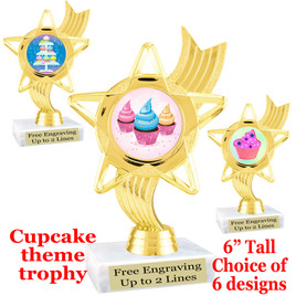 "Cupcake themed trophy.  6"" tall with choice of cupcake artwork.  Includes free engraved trophy plate   (ph27"