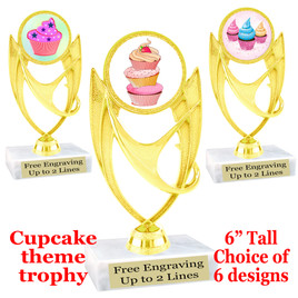 "Cupcake themed trophy.  6"" tall with choice of cupcake artwork.  Includes free engraved trophy plate   (ph28"