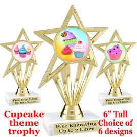 "Cupcake themed trophy.  6"" tall with choice of cupcake artwork.  Includes free engraved trophy plate   (ph30"