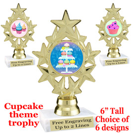 "Cupcake themed trophy.  6"" tall with choice of cupcake artwork.  Includes free engraved trophy plate   (ph75"