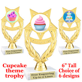 "Cupcake themed trophy.  6"" tall with choice of cupcake artwork.  Includes free engraved trophy plate   (ph97"
