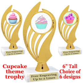 """Cupcake themed trophy.  6"""" tall with choice of cupcake artwork.  Includes free engraved trophy plate   (ph102"""