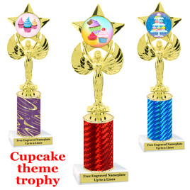 Cupcake Theme Trophy.  Choice of column color, trophy height, cupcake artwork and base!  7517