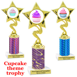Cupcake Theme Trophy.  Choice of column color, trophy height, cupcake artwork and base!  80106