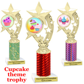 Cupcake Theme Trophy.  Choice of column color, trophy height, cupcake artwork and base!  h208