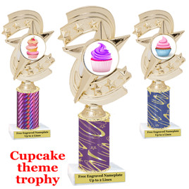 Cupcake Theme Trophy.  Choice of column color, trophy height, cupcake artwork and base!  h300