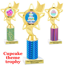 Cupcake Theme Trophy.  Choice of column color, trophy height, cupcake artwork and base!  ph27