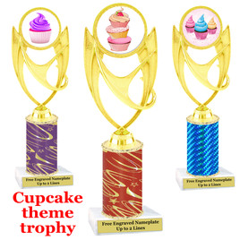 Cupcake Theme Trophy.  Choice of column color, trophy height, cupcake artwork and base!  ph28