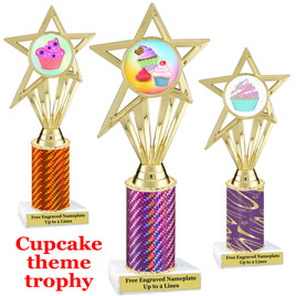 Cupcake Theme Trophy.  Choice of column color, trophy height, cupcake artwork and base!  ph30