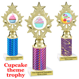 Cupcake Theme Trophy.  Choice of column color, trophy height, cupcake artwork and base!  ph75