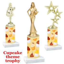Cupcake theme  trophy with choice of trophy height and figure (001