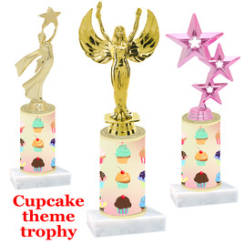 Cupcake theme  trophy with choice of trophy height and figure (002