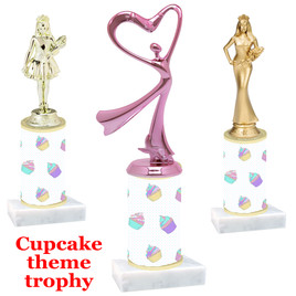 Cupcake theme  trophy with choice of trophy height and figure (003