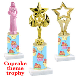 Cupcake theme  trophy with choice of trophy height and figure (004