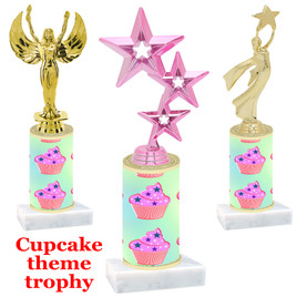 Cupcake theme  trophy with choice of trophy height and figure (005