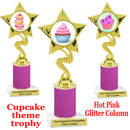 Cupcake trophy with Hot Pink Glitter column.  Choice of cupcake artwork and trophy height.  80106