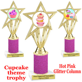 Cupcake trophy with Hot Pink Glitter column.  Choice of cupcake artwork and trophy height.  ph30