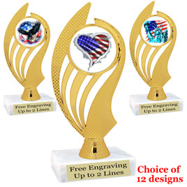 """Patriotic theme trophy with choice of art work.  6"""" tall  (ph102"""