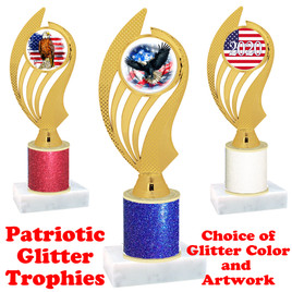 Patriotic theme trophy with glitter column.  Choice of artwork, glitter color and trophy height - ph102