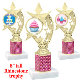 "Cupcake theme trophy with pink rhinestone column.  Choice of cupcake insert artwork.   8"" tall - h208"