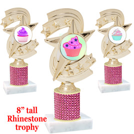 "Cupcake theme trophy with pink rhinestone column.  Choice of cupcake insert artwork.   8"" tall - h300"