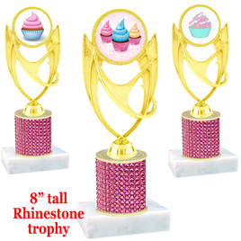 "Cupcake theme trophy with pink rhinestone column.  Choice of cupcake insert artwork.   8"" tall - ph28"