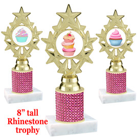 "Cupcake theme trophy with pink rhinestone column.  Choice of cupcake insert artwork.   8"" tall - ph75"