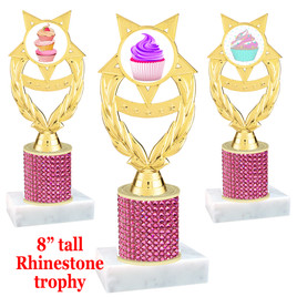 "Cupcake theme trophy with pink rhinestone column.  Choice of cupcake insert artwork.   8"" tall - ph97"