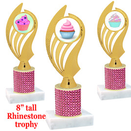 "Cupcake theme trophy with pink rhinestone column.  Choice of cupcake insert artwork.   8"" tall - ph102"