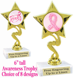 """Awareness theme trophy.  6"""" tall with choice of art work.  80106"""