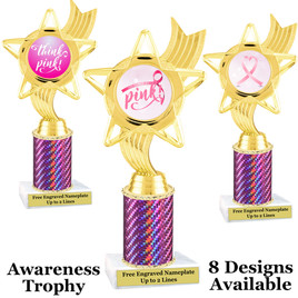 Awareness theme trophy.  Pink Prism column with choice of art work.  Numerous heights available. PH27