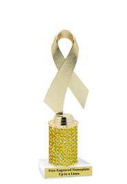Awareness Figure on rhinestone column trophy.  Gold Ribbon on Citrine yellow  Rhinestone column.  Choice of trophy height