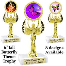 "Butterfly theme trophy with choice of 8 artwork designs.  6"" tall.   (80087"