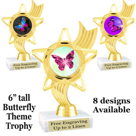 "Butterfly theme trophy with choice of 8 artwork designs.  6"" tall.   (ph27"