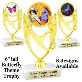 "Butterfly theme trophy with choice of 8 artwork designs.  6"" tall.   (ph28"