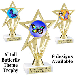 "Butterfly theme trophy with choice of 8 artwork designs.  6"" tall.   (ph30"