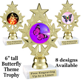 "Butterfly theme trophy with choice of 8 artwork designs.  6"" tall.   (ph75"