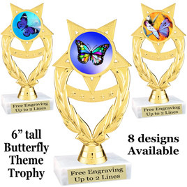 "Butterfly theme trophy with choice of 8 artwork designs.  6"" tall.   (ph97"